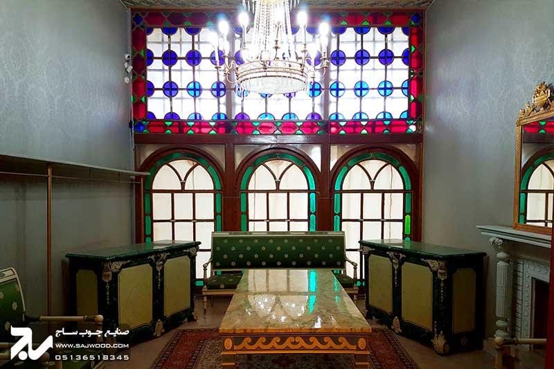پنجره سنتی چوبی ارسی شیشه رنگی|باغ عفیف آباد ( گلشن )