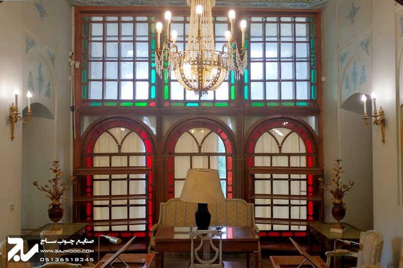 پنجره شیشه رنگی ارسی چوبی سنتی|باغ عفیف آباد ( گلشن )
