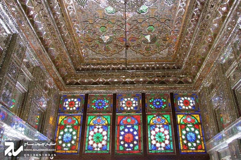 پنجره شیشه رنگی سنتی چوبی ارسی گره چینی|باغ نارنجستان قوام
