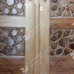درب ورودی تمام چوب مسجد امام سجاد خیابان طبرسی مشهد