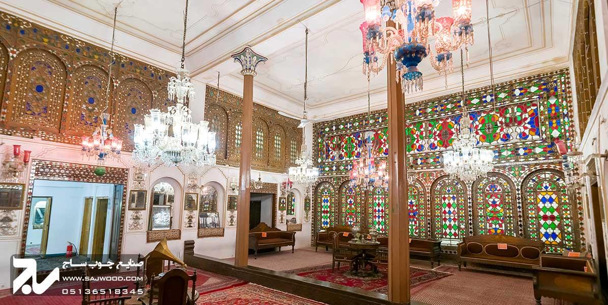پنجره گره چینی ارسی چوبی شیشه رنگی سنتی انگورستان ملک التجار اصفهان