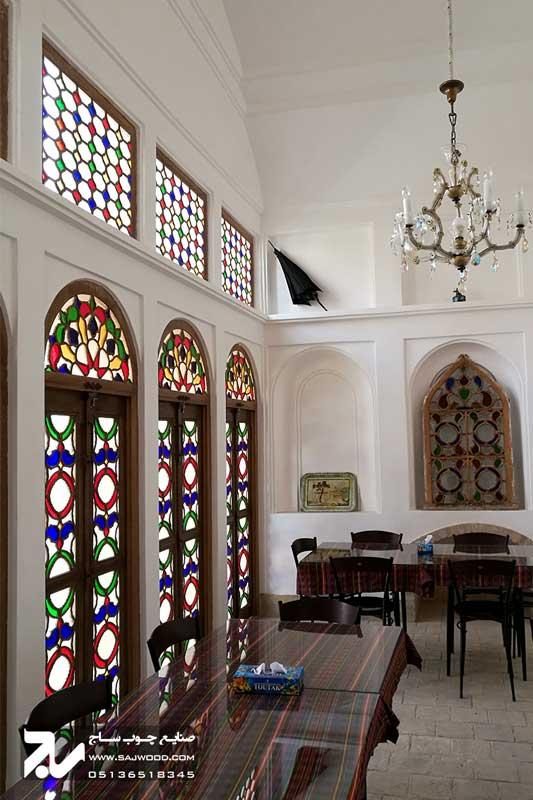 پنجره چوبی ارسی شیشه رنگی سنتی|خانه سه نیک