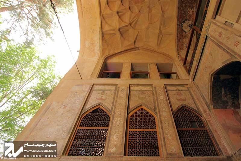 پنجره سنتی چوبی ارسی|کاخ هشت بهشت اصفهان