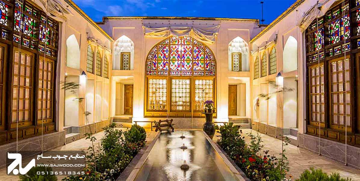 پنجره ارسی شیشه رنگی سنتی چوبی صنایع چوب ساج