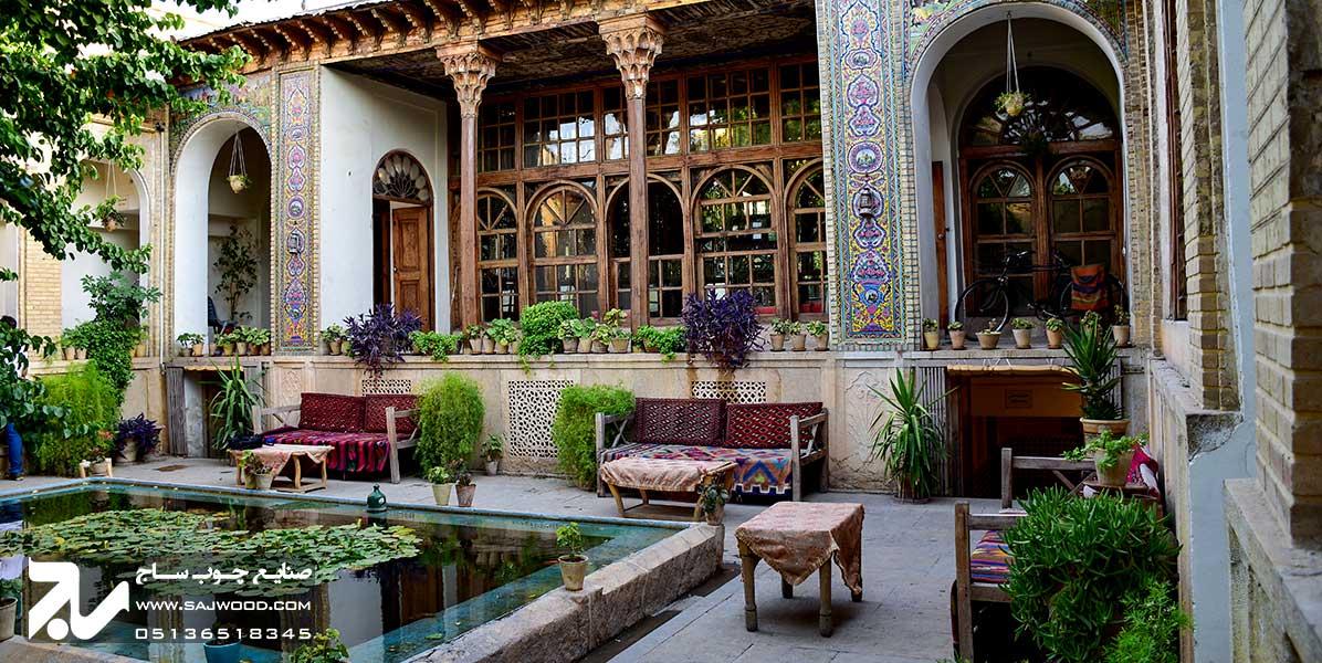 درب و پنجره ارسی سنتی چوبی شیشه رنگی خانه منطقی نژاد شیراز