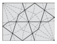 رسم گره (کند دو پنج) روی شبکه زیر ساختی شعاعی با دوایر هم مرکز.