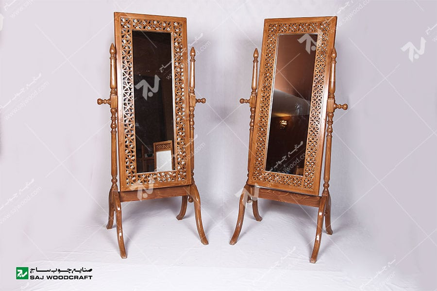 آیینه ایستاده( قدی )چوبی سنتی مشبک گره چینی -آذین کد ۶۰۰
