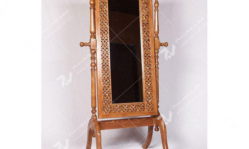 آیینه ایستاده قدی چوبی سنتی گره چینی مشبک