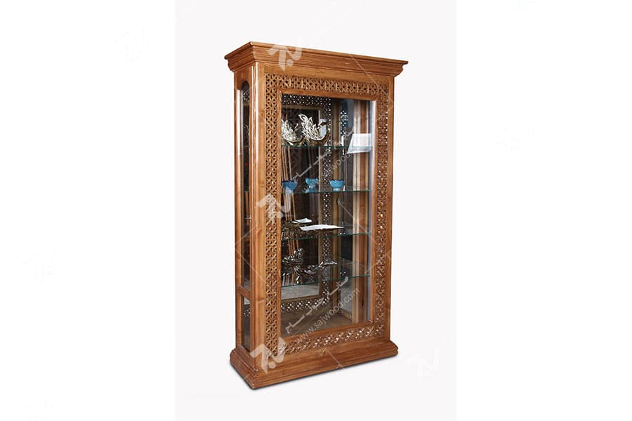 بوفه ( ویترین ) چوبی سنتی مشبک گره چینی - آذین کد ۶۰۱