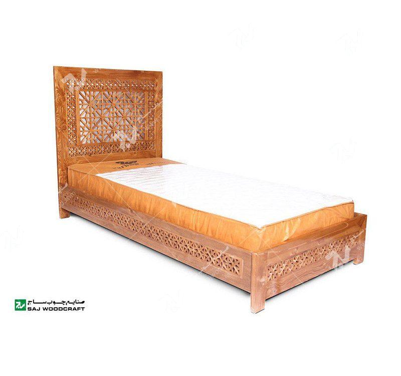سرویس،تخت خواب یک نفره چوبی سنتی قدیمی ایرانی گره چینی مشبک