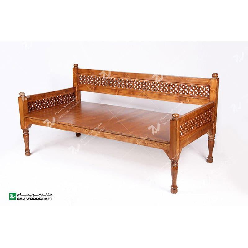 تخت چوبی سفره خانه باغی سنتی گره چینی مشبک تخت باغی چوبی گره چینی سنتی شاخص