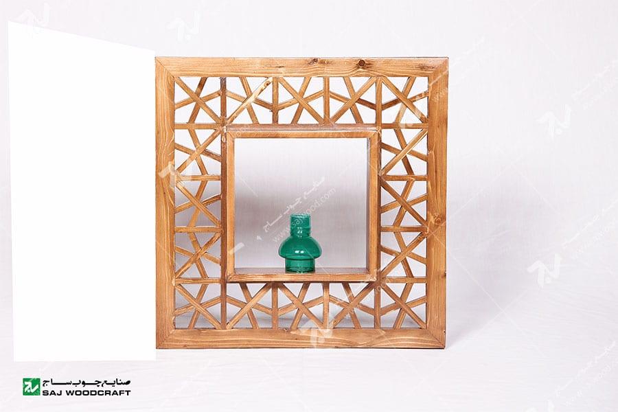 قاب دکوری ( شلف , باکس دیواری ) چوبی سنتی مشبک گره چینی-آذین کد۶۰۳