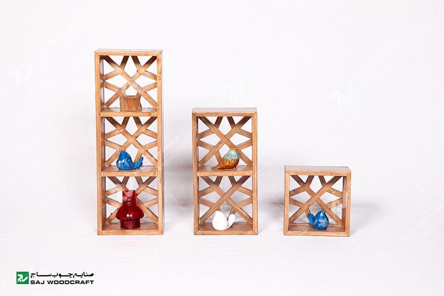 باکس دکوری (شلف ، قفسه دیواری ) چوبی سنتی مشبک گره چینی - آذین کد ۶۰۴
