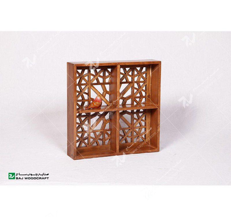 شلف دیواری دکوری باکس دیواری چوبی سنتی گره چینی مشبک