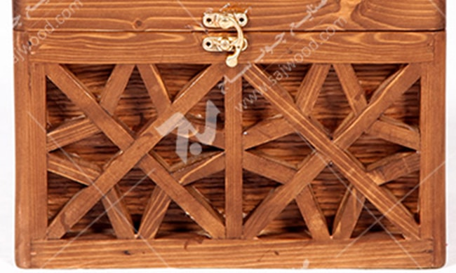 جعبه جواهرات ( صندوقچه چوبی تزیینی ) مشبک گره چینی - آذین کد ۶۰۸