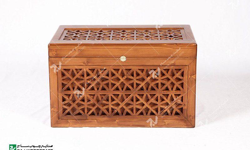 صندوقچه و جعبه جواهرات چوبی سنتی گره چینی مشبک