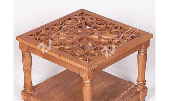 میز عسلی ، پذیرایی (کنارمبلی) چوبی سنتی مشبک گره چینی - سمن کد ۳۱۱