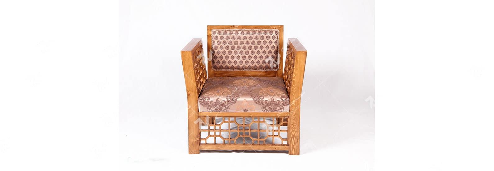 مبلمان چوبی سنتی تک نفره گره چینی مشبک - سها کد ۲۵۴