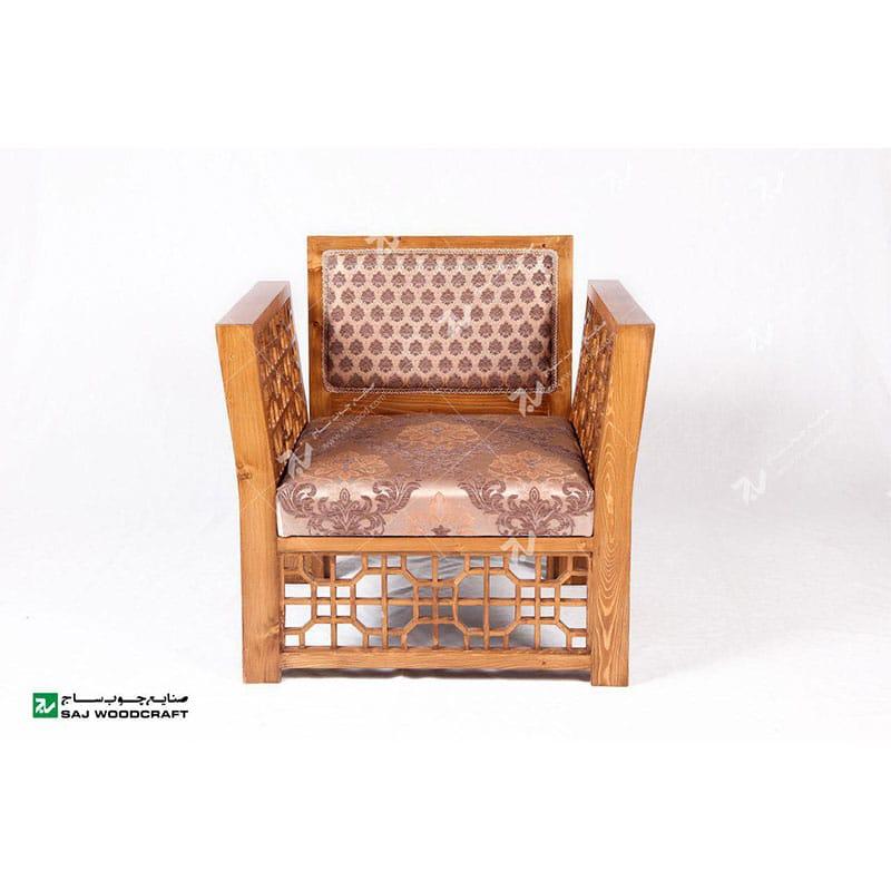 مبلمان چوبی سنتی تک نفره گره چینی مشبک تمام چوب