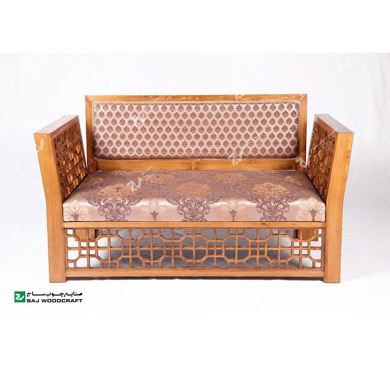مبلمان چوبی سنتی دو نفره گره چینی مشبک تمام چوب
