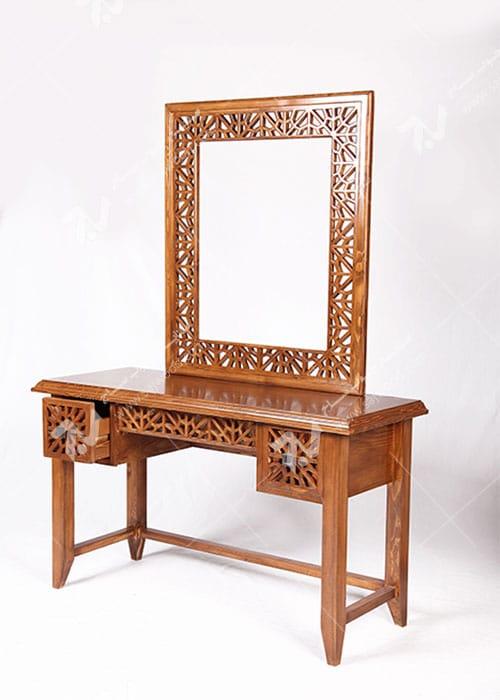 آیینه کنسول ، میز آرایش دراور دکوراتیو چوبی سنتی گره چینی مشبک - سمن کد ۳۱۲