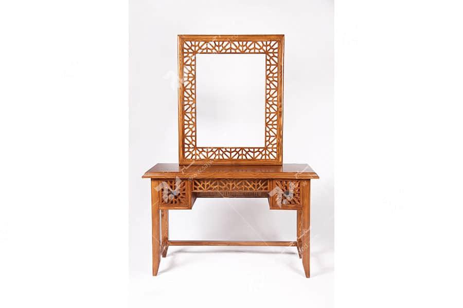 آیینه کنسول (میز آرایش ) دراور دکوراتیو چوبی سنتی گره چینی مشبک - سمن کد ۳۱۲