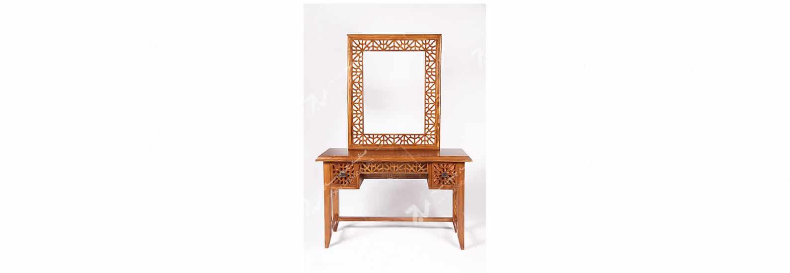 آیینه کنسول (میز آرایش ) دراور دکوراتیو چوبی سنتی گره چینی مشبک