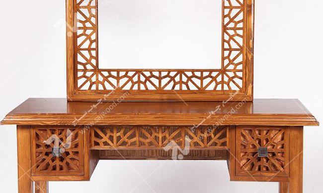 آیینه کنسول ، میز آرایش دراور دکوراتیو چوبی سنتی گره چینی مشبک