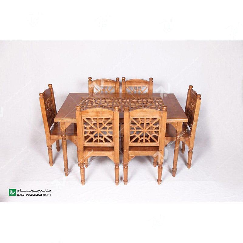 میز صندلی غذاخوری،ناهارخوری چوبی سنتی گره چینی مشبک