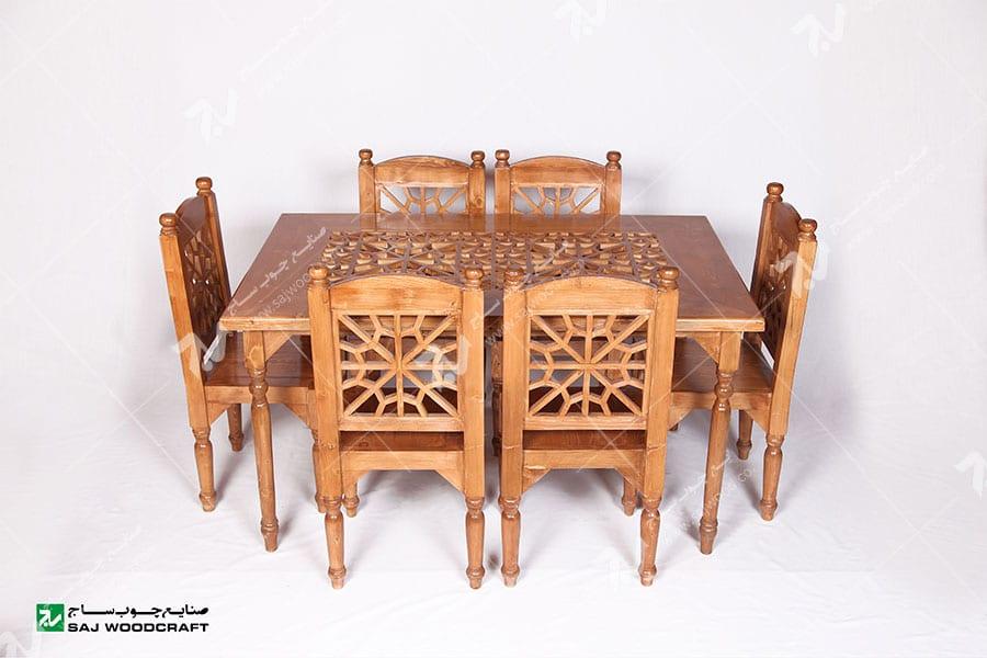 میز وصندلی غذاخوری ( ناهارخوری ) 6 نفره چوبی سنتی گره چینی مشبک - سمن کد۳۰۱
