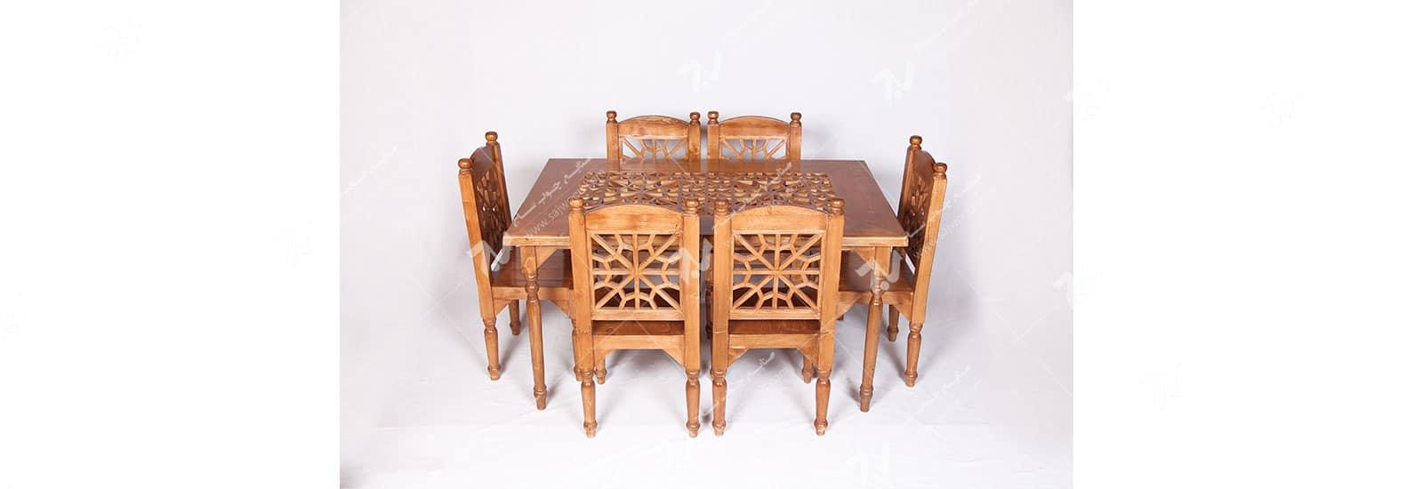 میز و صندلی غذاخوری ( ناهارخوری ) 6 نفره چوبی سنتی گره چینی مشبک - سمن کد۳۰۱