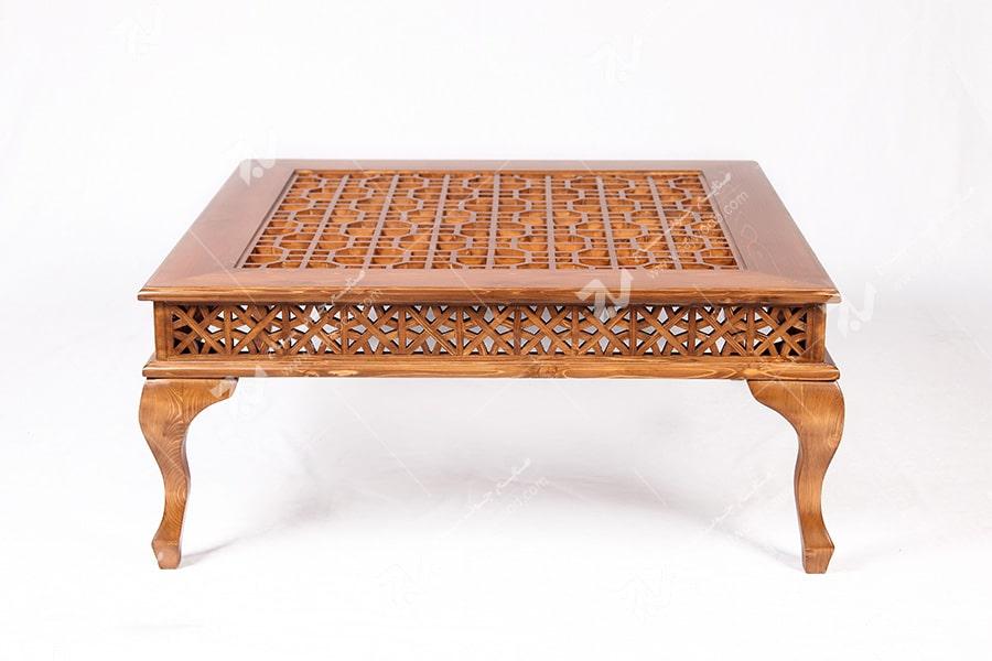 میز جلو مبلی (پذیرایی) چوبی سنتی گره چینی مشبک - سمن کد۳۱۳