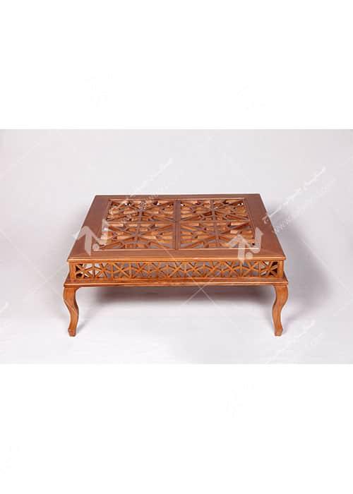 میز جلو مبلی (پذیرایی) چوبی سنتی گره چینی مشبک - سمن کد ۳۰۸