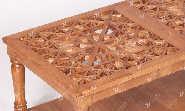 میز جلو مبلی (پذیرایی) چوبی سنتی گره چینی مشبک - سمن کد ۳۱۰