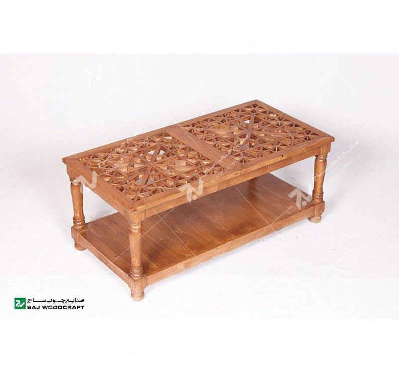 میز پذیرایی جلو مبلی چوبی سنتی گره چینی مشبک