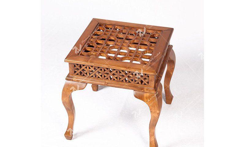 میز عسلی،پذیرایی،کنار مبلی چوبی سنتی گره چینی مشبک