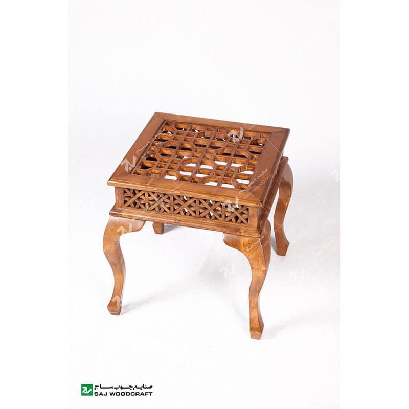 میز عسلی ، پذیرایی (کنارمبلی) چوبی سنتی مشبک گره چینی-کد۳۱۴