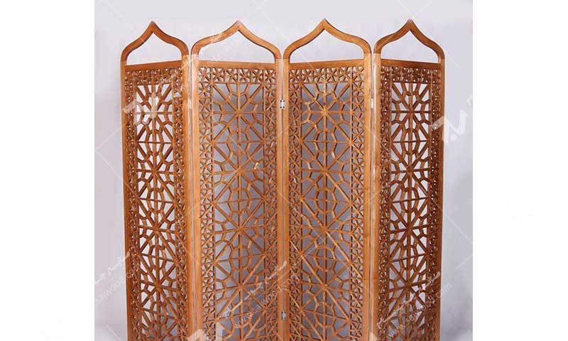 پارتیشن پاراوان چوبی سنتی مشبک گره چینی ساخت،فروش پارتیشن متحرک تاشو