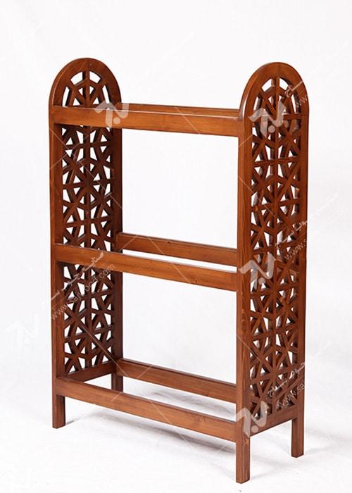 ویترین قفسه کتاب ، کتابخانه چوبی سنتی مشبک گره چینی - آذین کد ۶۰۶