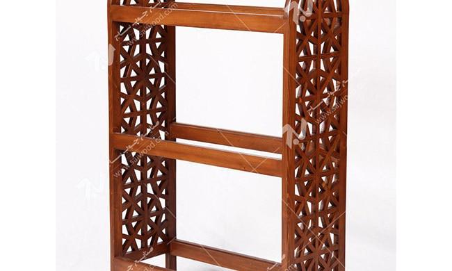 کتابخانه ( قفسه کتاب ) چوبی سنتی مشبک گره چینی - آذین کد ۶۰۶