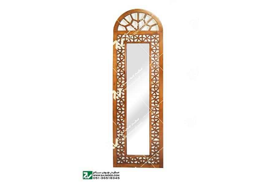 آیینه دیواری دکوراتیو چوبی سنتی مشبک گره چینی -آذین کد ۶۳۰