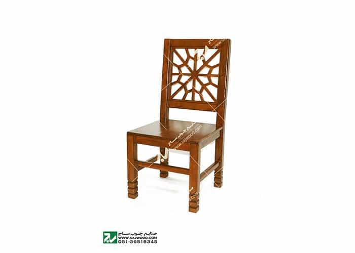 صندلی چوبی کلاسیک ( قدیمی ) سنتی مشبک گره چینی - سمن کد ۳۲۲
