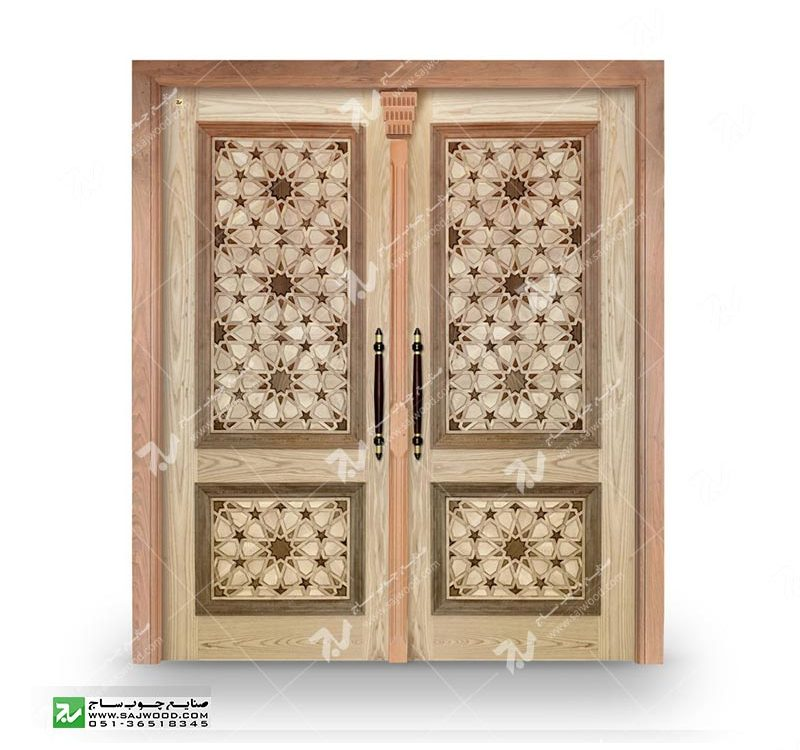 درب چوبی گره چینی سنتی ورودی ساختمان،آپارتمان درب مسجد و نمازخانه