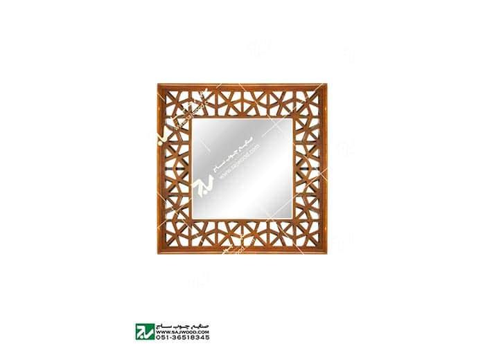 قاب آیینه دیواری دکوراتیو چوبی سنتی مشبک گره چینی -آذین کد ۶۴۶