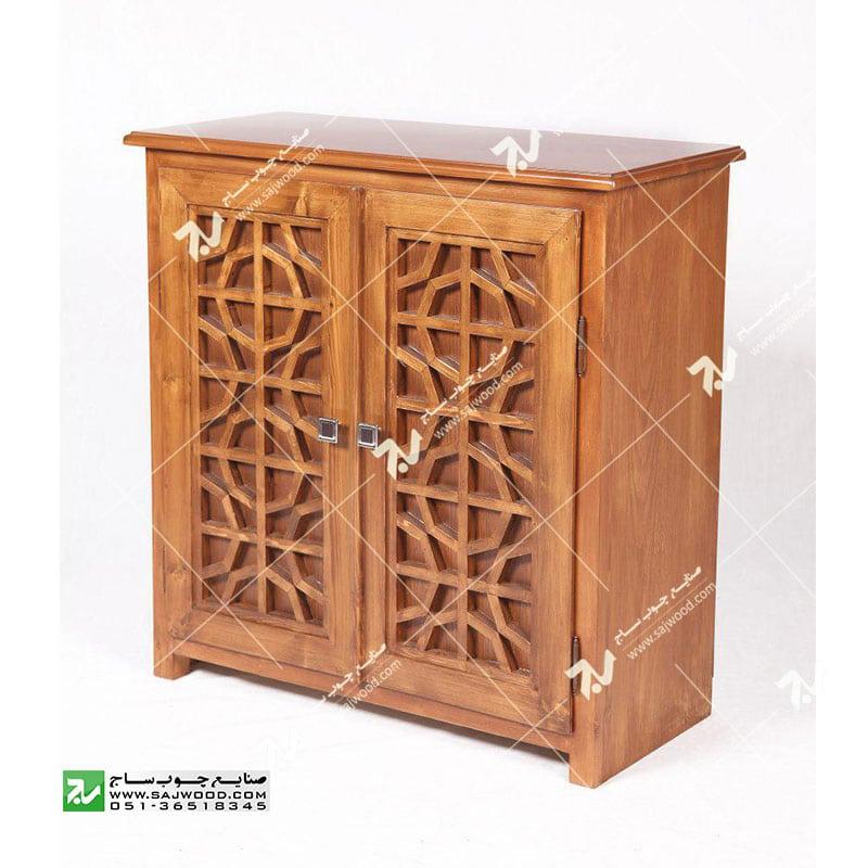 جاکفشی چوبی سنتی مشبک گره چینی – آذین کد ۶۱۰