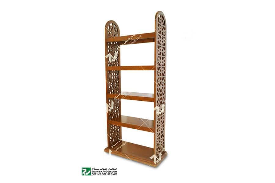 کتابخانه (قفسه ) چوبی سنتی مشبک گره چینی پنج طبقه - آذین کد ۶۲۹