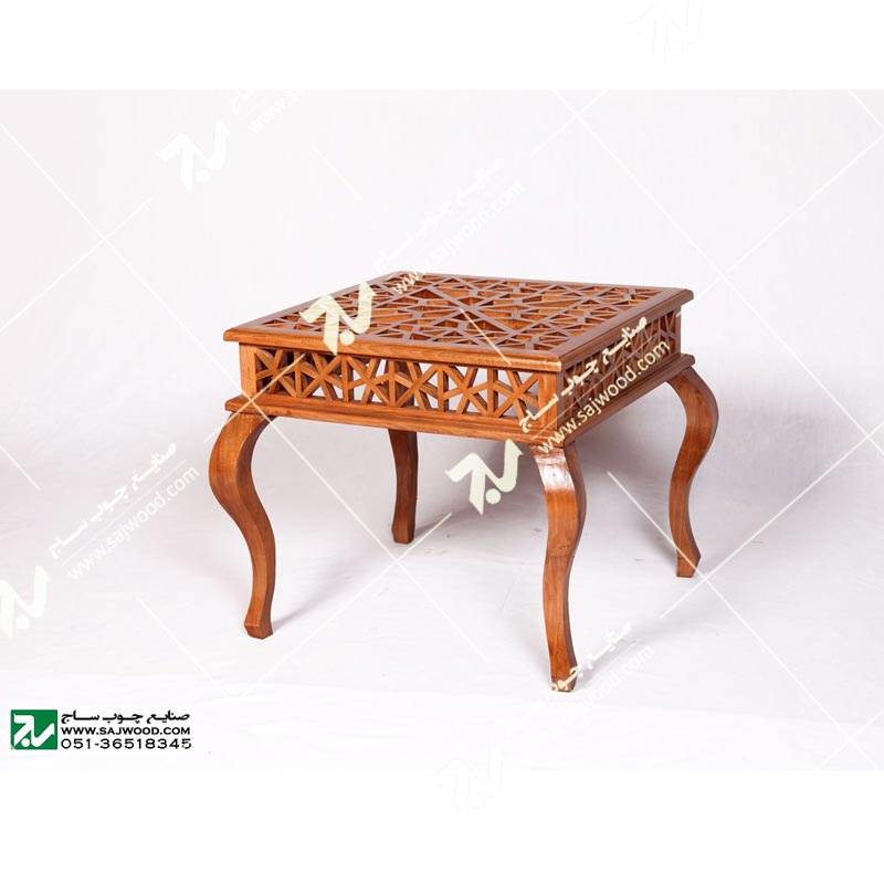 میز عسلی ، پذیرایی (کنارمبلی) چوبی سنتی مشبک گره چینی – سمن کد ۳۰۹