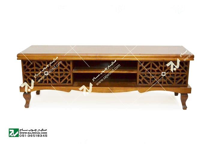 میز ال سی دی و تلویزیون LCD / LED چوبی سنتی مشبک گره چینی _ سمن کد321