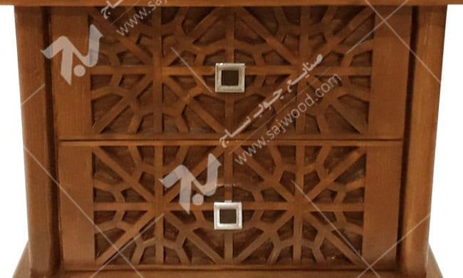 میز پاتختی سرویس خواب سنتی چوبی گره چینی-رامش کد۴۰۳