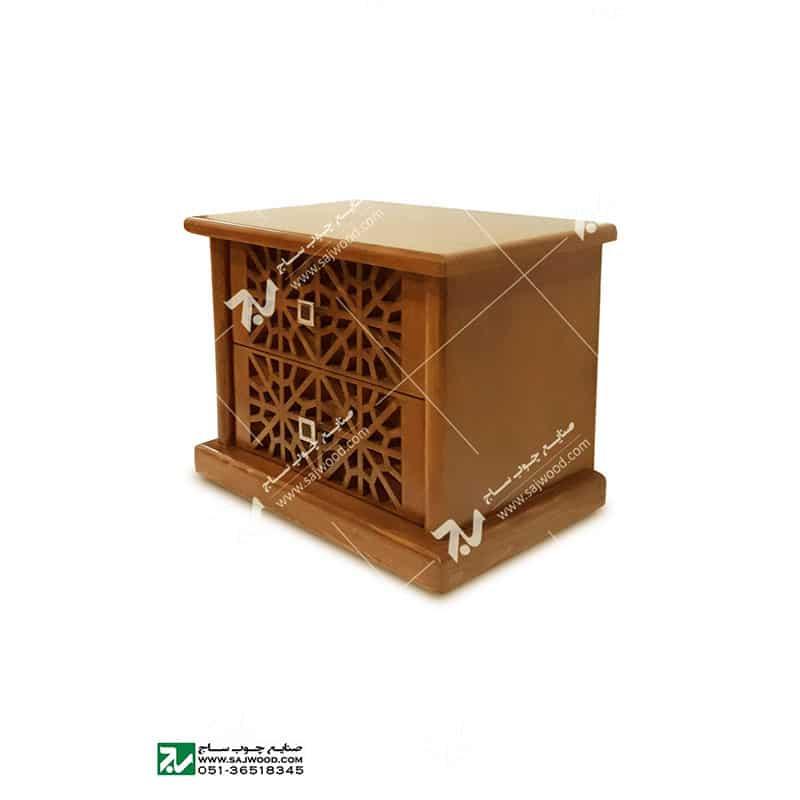 میز پاتختی سرویس خواب سنتی چوبی گره چینی -رامش کد ۴۰۳